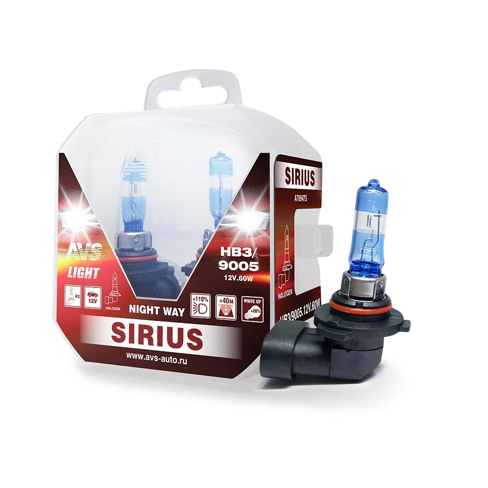 Лампа галогенная AVS SIRIUS NIGHT WAY HB3/9005.12V.65W Plastic box -2 шт